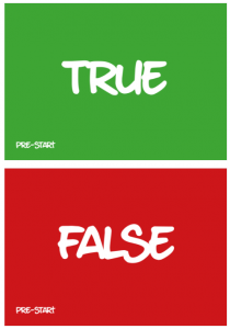 true & false cards